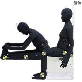 高齢者ダミー人形での座位姿勢