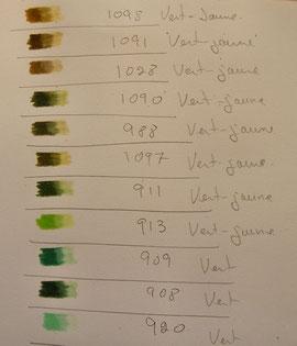 Du blanc apposé avec une forte pression par-dessus la couleur permet de déterminer la famille de couleur. (cliquez sur l'image pour agrandir)