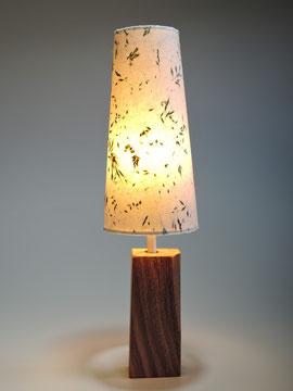Tischlampe mit Wiesengräsern und Apfelholzfuß - beleuchtet