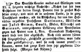 Freiburger Zeitung vom 26.11.1837