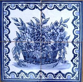 """""""Früchte-und Blumenkorb blau-weiß"""" Art.-Nr.: PN-131, 28x28cm"""