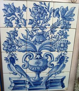 """""""Blumenvase mit Vögel blau-weiß"""" Art.-Nr.: PN-108, Größe: 56x42cm"""