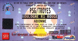 Ticket  PSG-Troyes  2003-04