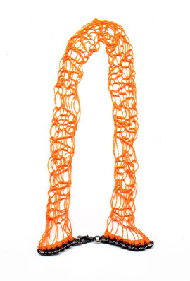 necklace handknitted orange yarn stitched to dark gunmetal heavy chain, jewellery, adornment, schmuck