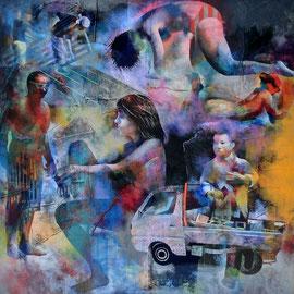 海辺の人々2012-2 パネルにアクリル絵の具 162cm*162cm