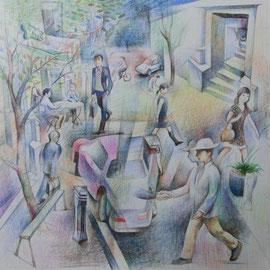 日本大通り陸側 紙に色鉛筆