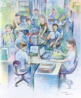 Office workers 紙に色鉛筆 26*21.5cm