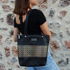 Sac noir et bronze motifs géométriques - Fait main