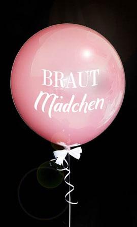 Bubble Ballon Luftballon Brautmädchen Mädchen rosa Hochzeit Braut Geschenk beschriftet Helium Heliumballon personalisiert individuell Namen Versand Wunschbubble