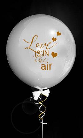 Bubble Ballon Luftballon Love is in the air Liebe Mädchen rosa Hochzeit Braut Geschenk beschriftet Helium Heliumballon personalisiert individuell Namen Versand Wunschbubble