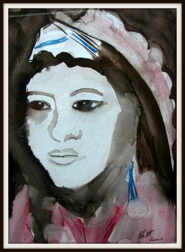 Femme des steppes, aquarelle.D.Petit