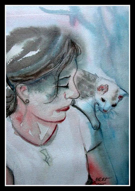 Le chaton, aquarelle. D.Petit