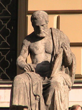 Detail: Statue of Homer in front of the State Library