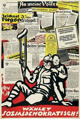 """Die Ausstellung """"An meine Völker"""" widmet sich dem 100.Jahrestag des Ausbruches des ersten Weltkrieges. Sie zeigt Dokumente und Literatur von 1914-1918 und der Vorgeschichte."""