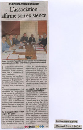 Article Dauphiné Libéré du 08 avril