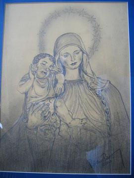 Muttergottes mit Jesukind Bleistiftz. 2002