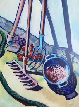 Galambos Rita: In meinem Grossvaters Garten, Künstlerin, Acrylgemälde, Acrylmalerei, bildende Künstlerin, Malerin, Designerin, Illustratorin, Grafikdesignerin, hungarian Painter, contemporary artist, modern painting, Feldkirch, Vorarlberg , Austria