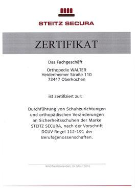 Orthopedie Walter - Steitz Secura Zertifikat