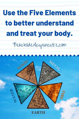 """Use the Five Elements to better understand and treat your body"" over wood, metal, fire, earth, water on the Beachside Blog"