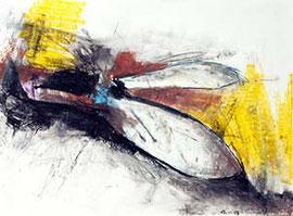 Link zu den Arbeiten auf Papier mit Ölpastellkreiden und Wasserfarben