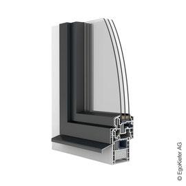 Kunststoff Aluminium-Fenster EgoOne halbflächenversetzt