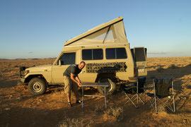 das erste Camp in der Wüste