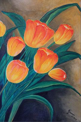 © Blütenleuchten, Acryl auf Leinwand, 80 x 60cm