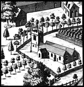 Henry Beighton's drawing of Edgbaston church in William Dugdale 1730 Antiquities of Warwickshire. At this time the nave and north aisle had separate pitched roofs.