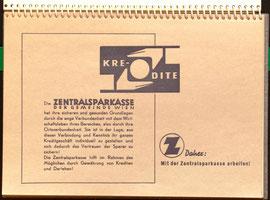 Tischkalender der Zentralsparkasse. Werbung im Kalender. Grafik Heinz Traimer.