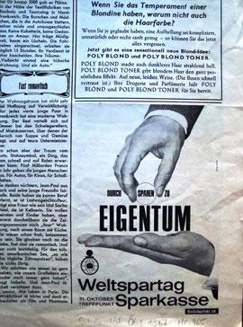 Weltspartag 1967. Durch Sparen zu Eigentum. Inserat der Sparkasse.