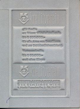 Der Kreditverein gibt Kredite an Wiener Wirtschaftstreibende bis S 500.000.- für alle Arten von Investitionen und zur Betriebsmittelverstärkung. Vertrauenskredite bis S 30.000.- auch ohne Bürgen. I. Maria-Theresien-Str. 2.  Kreditverein  Traimer 1965 (um)