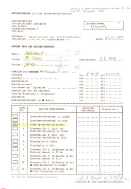 Urkunden-Bestellung des Sparkassenverbandes für Präsident Dr. Johann Taus (1991).