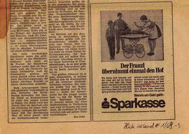 """Hofübergabe. Inserat der Sparkasse in der landwirtschaftlichen Sparkassen-Zeitung """"Blick ins Land"""" von 1969."""