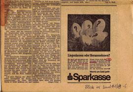 """Spargeld bei der Sparkasse lassen 7,3% Zinsen. Inserat der Sparkasse in der landwirtschaftlichen Sparkassen-Zeitung """"Blick ins Land"""" von 1969."""