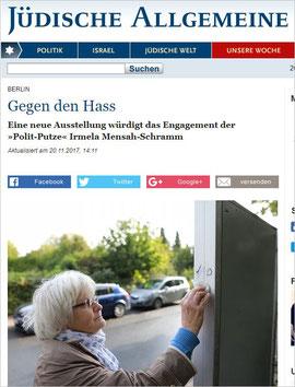 Jüdische Allgemeine - Gegen den Hass Eine neue Ausstellung würdigt das Engagement der »Polit-Putze« Irmela Mensah-Schramm