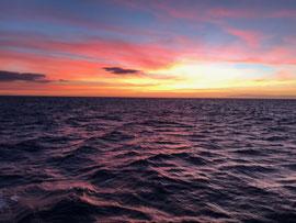 船から見る、海へ沈む夕日は最高に美しい。グリーンフラッシュが見えることも!(便により夕日後に出発する時もあります。)