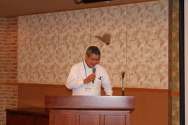 高知県橋梁会で「橋梁よまやま話」として講演する前田技師長
