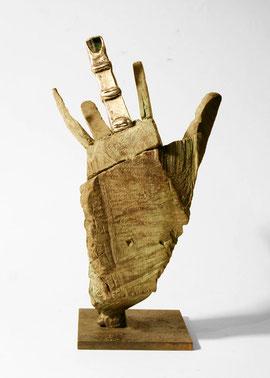 Hand 81, 2008, Bronze, Silber, Schörl, Bein, Unikat, 29 × 15,2 × 11 cm