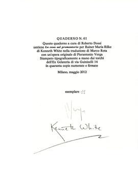 colophon numerato e firmato dall'autore e dall'artista