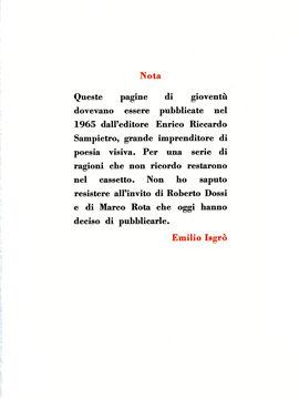 """pagina tipografica a due colori con """"Nota"""" dell'autore che spiega la nascita di questo libro"""