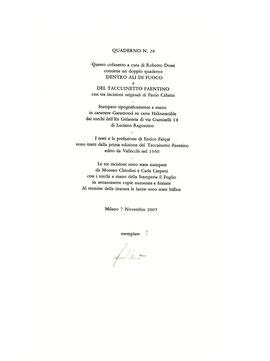 colophon numerato e firmato dall'artista