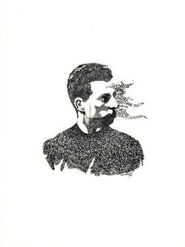 litografia origilane da un ritratto di Luciano Ragozzino