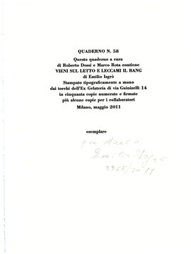 colophon numerato, datato e firmato