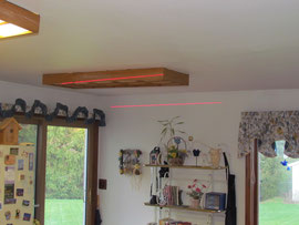 The laser line is level, the ceiling is sagging several inches