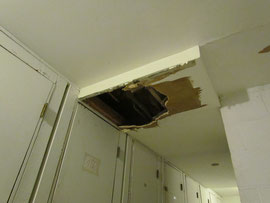 Water caused this laundry room ceiling collapse
