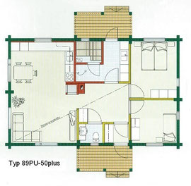 Blockhaus Wittenberge als Wohnhaus - Typ 89PU-50plus  -  Holzhaus in massiver Blockbauweise für eine kleine Familie bis drei Personen - Niedrigenergiehaus -  Bungalow - 50plus - Zweitwohnsitz -  Singlehaus -  Bausatzhaus