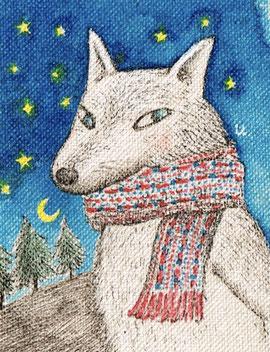 白オオカミ マフラー