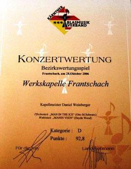 Urkunde des Bezirkskonzertwertungsspieles 2006