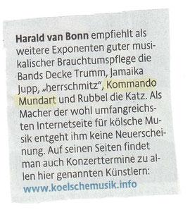 Heute im Kölner Stadtanzeiger. Danke Harald!
