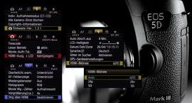 Alle Menüs der Neuen Firmware für die Canon EOS 5D MK III